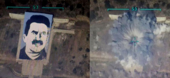 Jetler, teröristbaşı Öcalan'ın resmini imha etti!