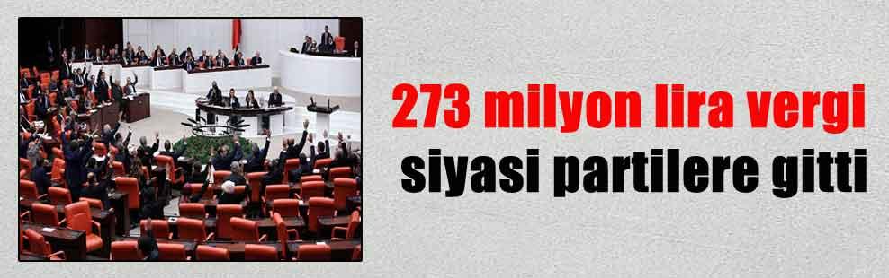 273 milyon lira vergi siyasi partilere gitti