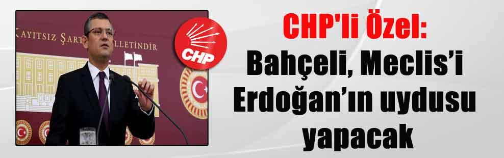CHP'li Özel: Bahçeli, Meclis'i Erdoğan'ın uydusu yapacak