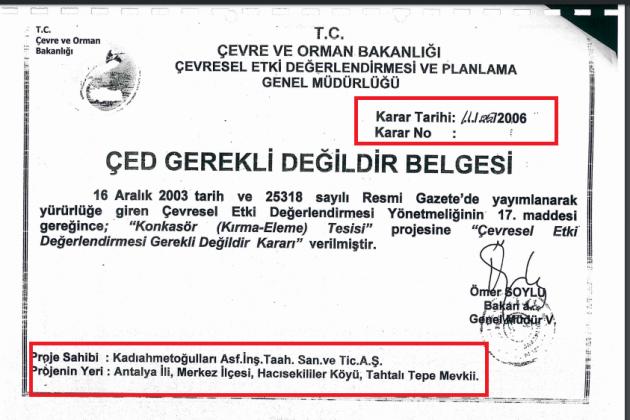 çed belgesi 2003 yılında verilmiş