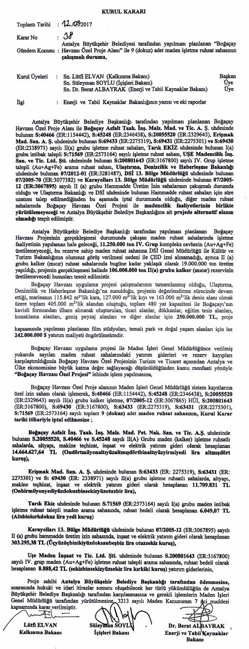 üç bakanın imzasını taşıyan devirle ilgili kararname