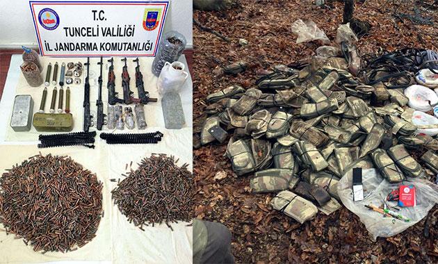 Tunceli'de PKK cephaneliği ele geçirildi