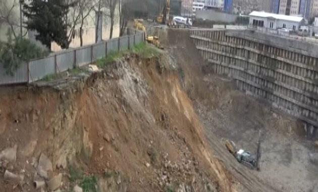 Şişli Meslek Lisesinin yanındaki toprak kaymasıyla ilgili yeni görüntüler