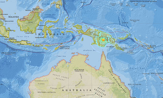 Papua Yeni Gine'de 6.7 büyüklüğünde deprem