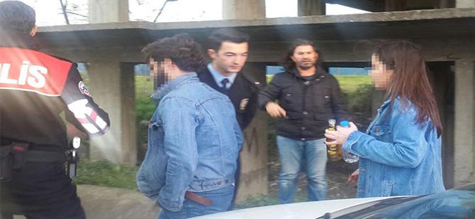 Genç aşıkların inşaattaki buluşması polis merkezinde son buldu