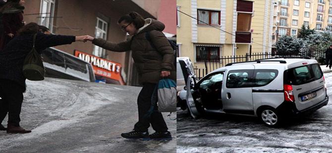 Ara sokaklardaki buzlanma sürücülere ve yayalara zor anlar yaşattı