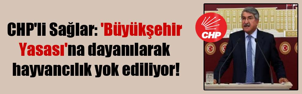 CHP'li Sağlar: 'Büyükşehir Yasası'na dayanılarak hayvancılık yok ediliyor!