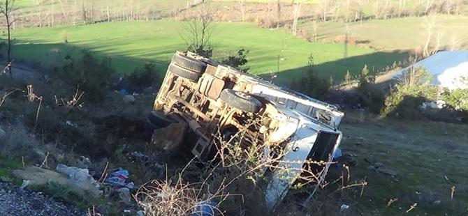 Hayvan yüklü kamyonet şarampole yuvarlandı: 2 yaralı