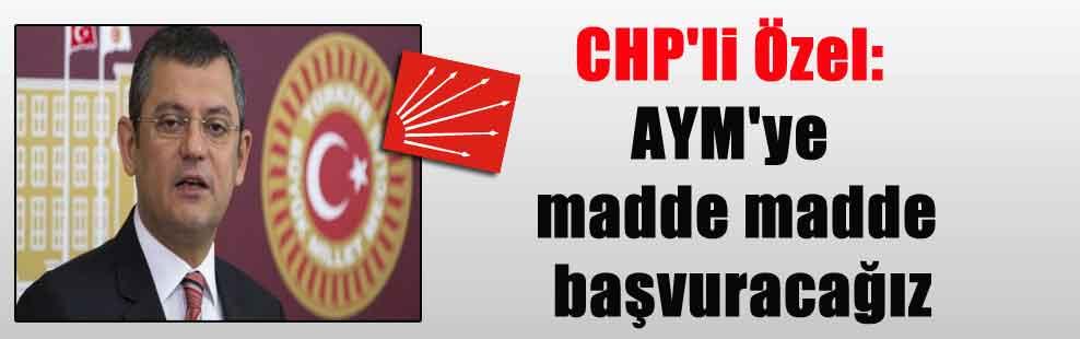 CHP'li Özel: AYM'ye madde madde başvuracağız