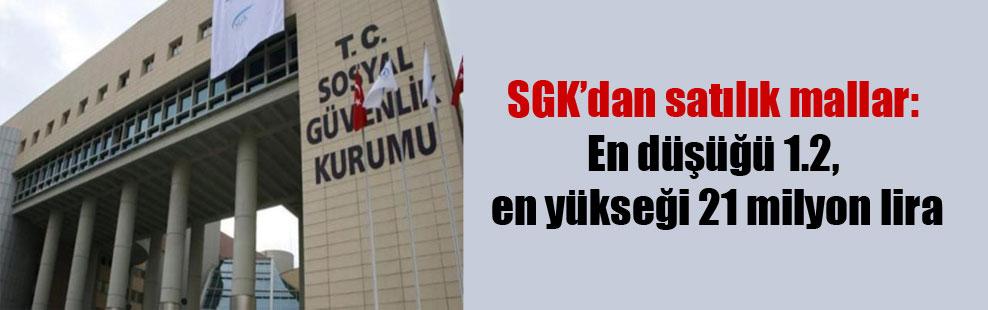 SGK'dan satılık mallar: En düşüğü 1.2, en yükseği 21 milyon lira