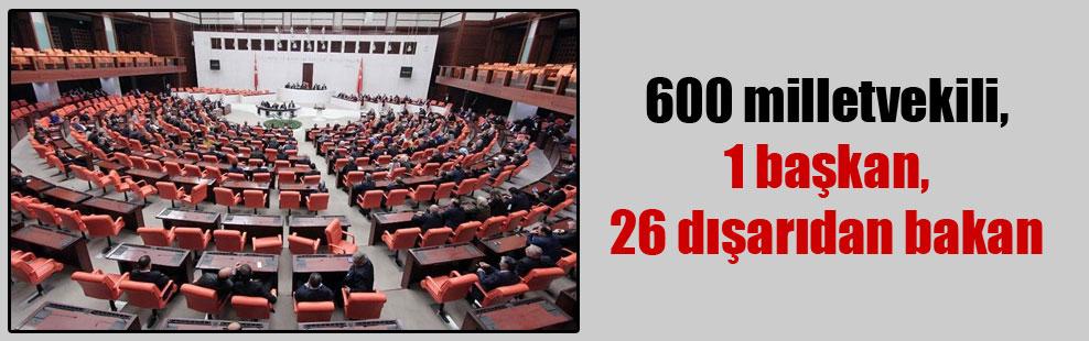 600 milletvekili, 1 başkan , 26 dışarıdan bakan