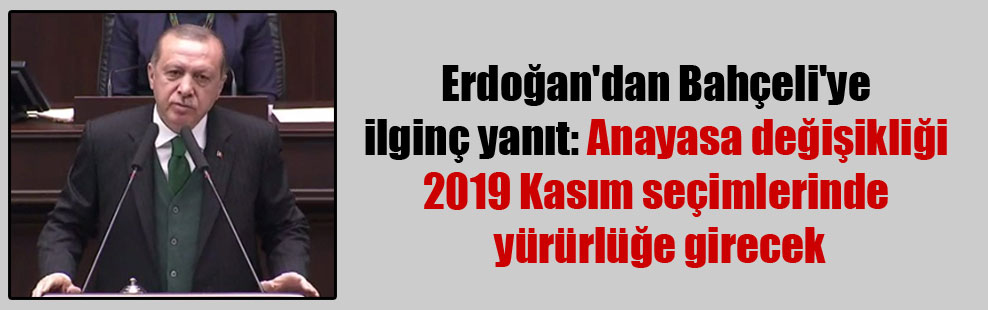 Erdoğan'dan Bahçeli'ye ilginç yanıt: Anayasa değişikliği 2019 Kasım seçimlerinde yürürlüğe girecek
