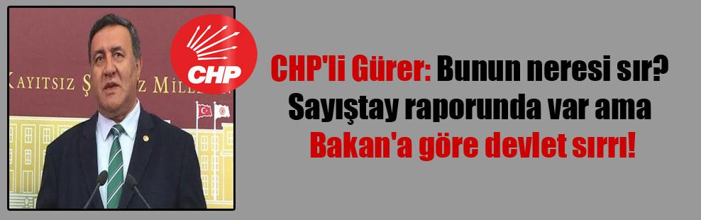 CHP'li Gürer: Bunun neresi sır? Sayıştay raporunda var ama Bakan'a göre devlet sırrı!