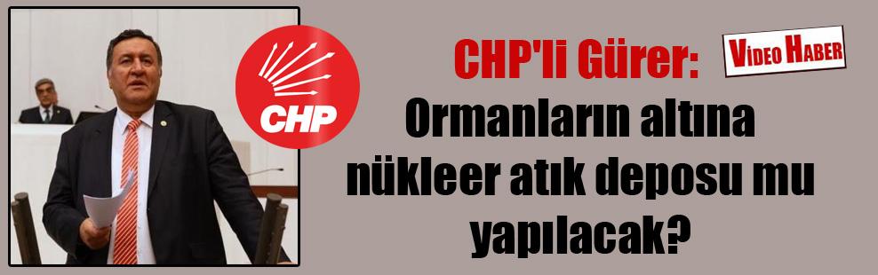 CHP'li Gürer: Ormanların altına nükleer atık deposu mu yapılacak?