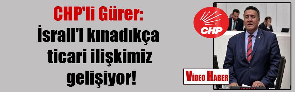 CHP'li Gürer: İsrail'i kınadıkça ticari ilişkimiz gelişiyor!