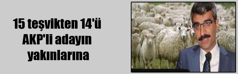 15 teşvikten 14'ü AKP'li adayın yakınlarına