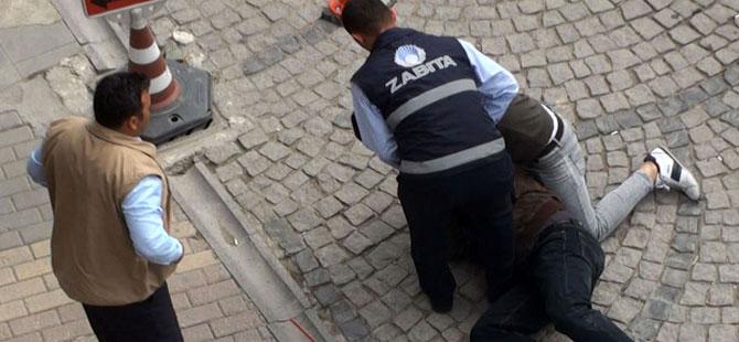 Karaman'da dilenciye 'vurun' diyen zabıta açığa alındı