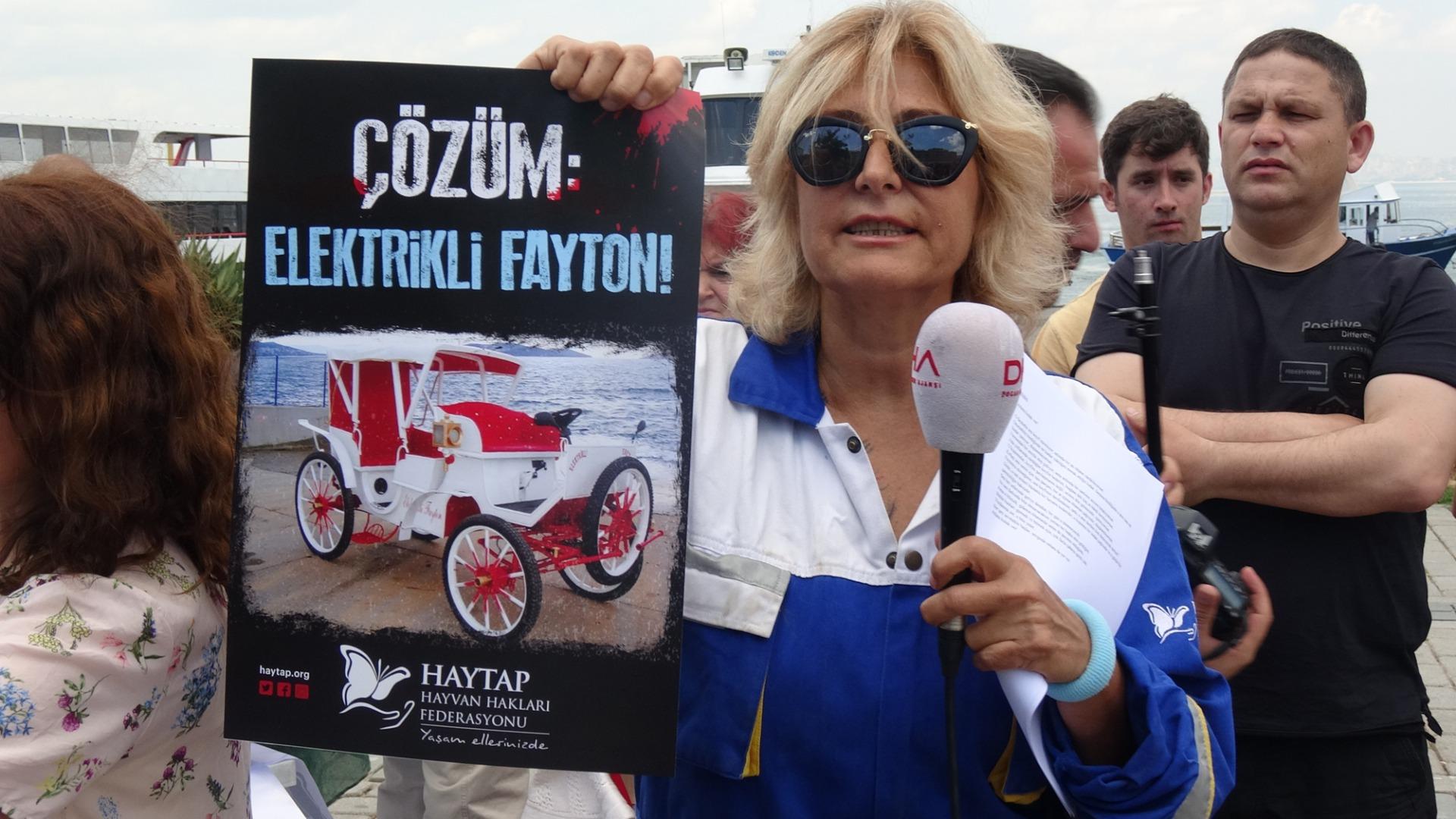 Büyükada'da fayton protestosu