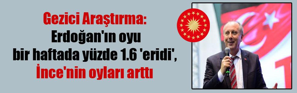 Gezici Araştırma: Erdoğan'ın oyu bir haftada yüzde 1.6 'eridi', İnce'nin oyları arttı