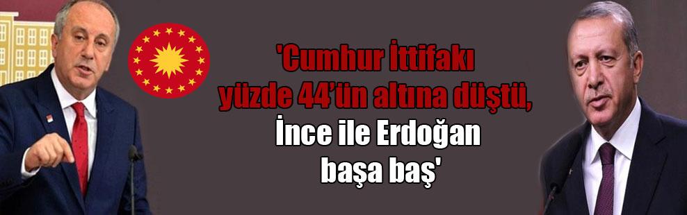 'Cumhur İttifakı yüzde 44'ün altına düştü, İnce ile Erdoğan başa baş'