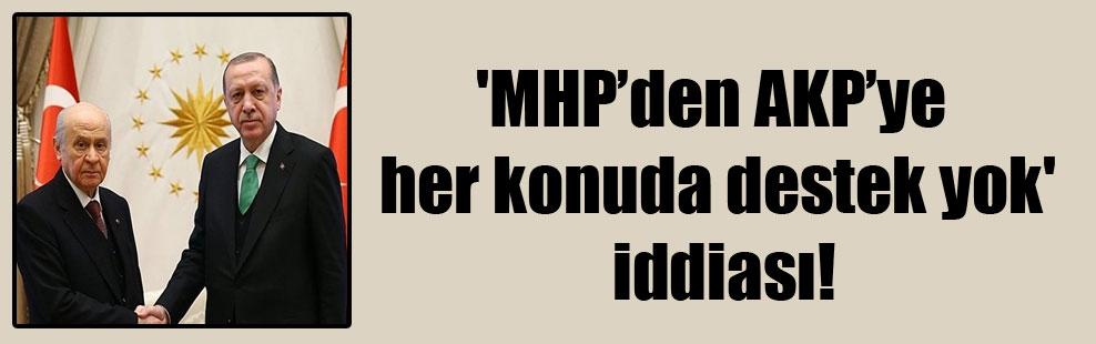 'MHP'den AKP'ye her konuda destek yok' iddiası!
