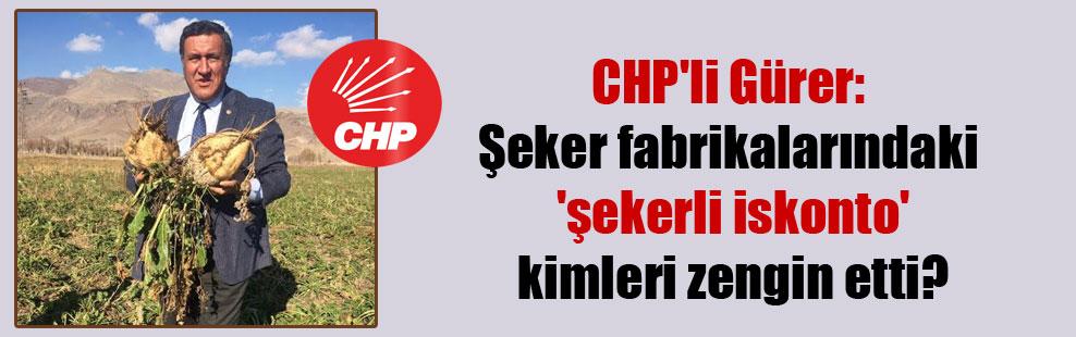 CHP'li Gürer: Şeker fabrikalarındaki  'şekerli iskonto' kimleri zengin etti?