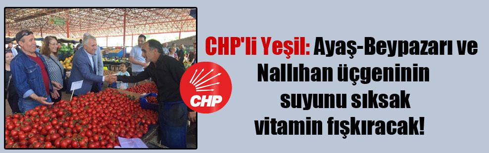 CHP'li Yeşil: Ayaş-Beypazarı ve Nallıhan üçgeninin suyunu sıksak vitamin fışkıracak!