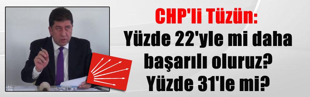 CHP'li Tüzün: Yüzde 22'yle mi daha başarılı oluruz? Yüzde 31'le mi?