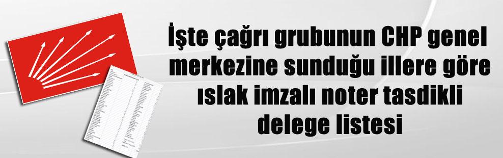 İşte çağrı grubunun CHP genel merkezine sunduğu illere göre ıslak imzalı noter tasdikli delege listesi