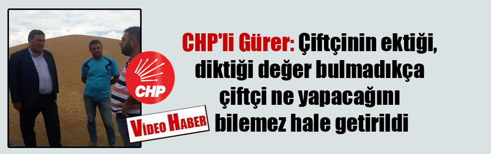 CHP'li Gürer: Çiftçinin ektiği, diktiği değer bulmadıkça çiftçi ne yapacağını bilemez hale getirildi