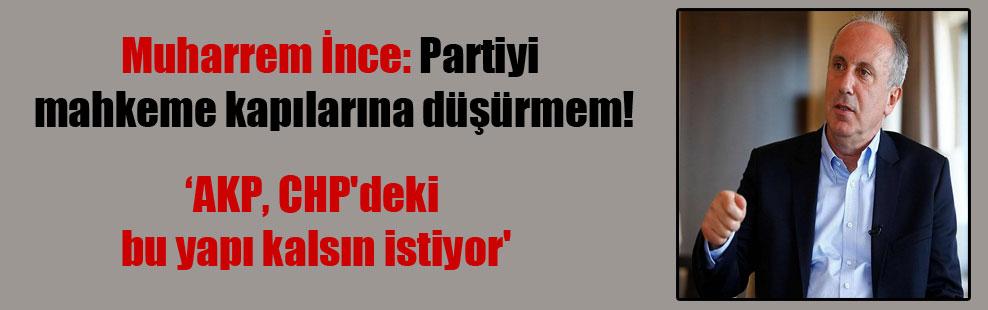 Muharrem İnce: Partiyi mahkeme kapılarına düşürmem!