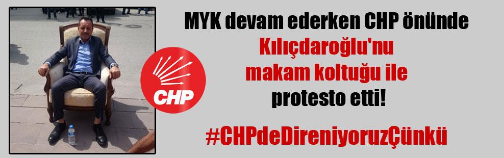 MYK devam ederken CHP önünde Kılıçdaroğlu'nu makam koltuğu ile protesto etti