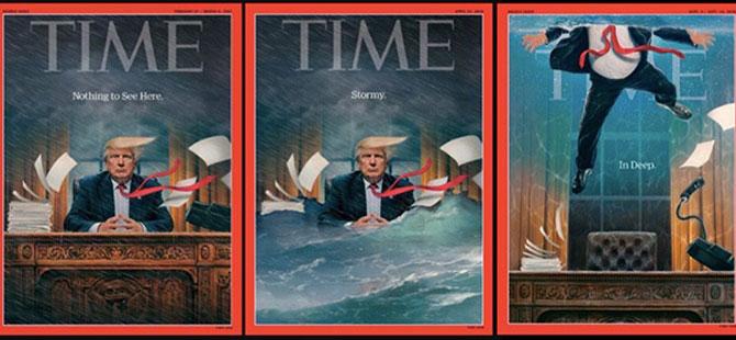 Time, ABD Başkanı'nı kapaklarında 'adım adım' batırdı