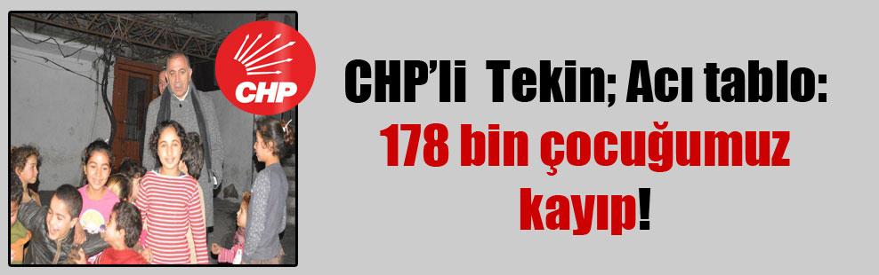 CHP'li Tekin; Acı tablo: 178 bin çocuğumuz kayıp!