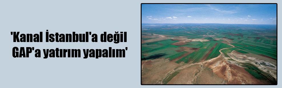 'Kanal İstanbul'a değil GAP'a yatırım yapalım'
