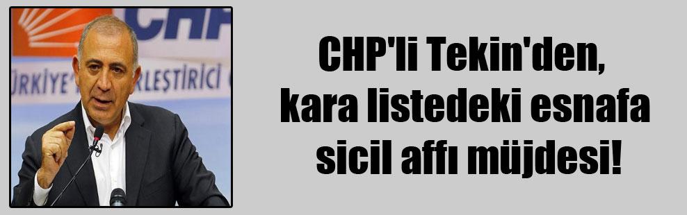 CHP'li Tekin'den, kara listedeki esnafa sicil affı müjdesi!
