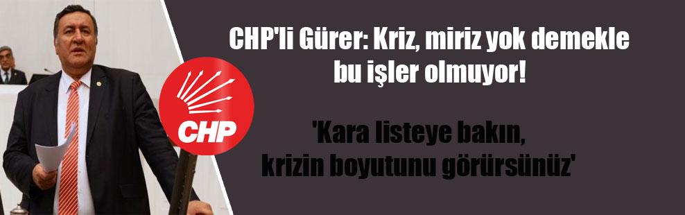 CHP'li Gürer: Kriz, miriz yok demekle bu işler olmuyor!