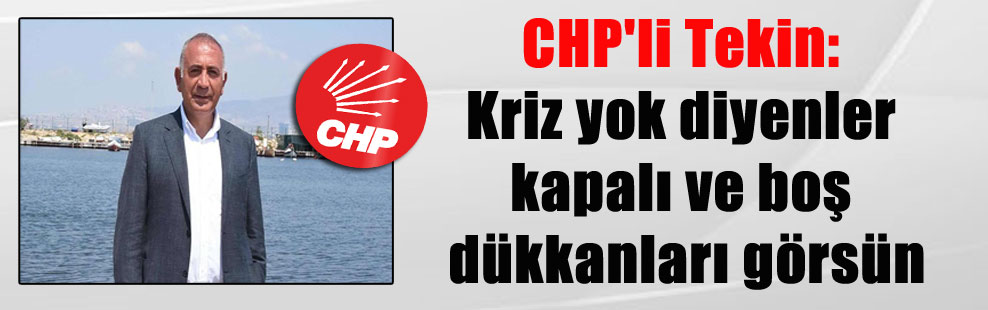 CHP'li Tekin: Kriz yok diyenler kapalı ve boş dükkanları görsün