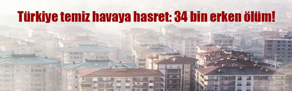 Türkiye temiz havaya hasret: 34 bin erken ölüm!