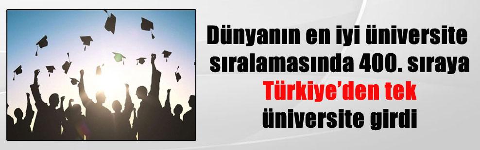 Dünyanın en iyi üniversite sıralamasında 400. sıraya Türkiye'den tek üniversite girdi