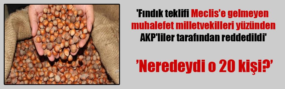 'Fındık teklifi Meclis'e gelmeyen muhalefet milletvekilleri yüzünden AKP'liler tarafından reddedildi'
