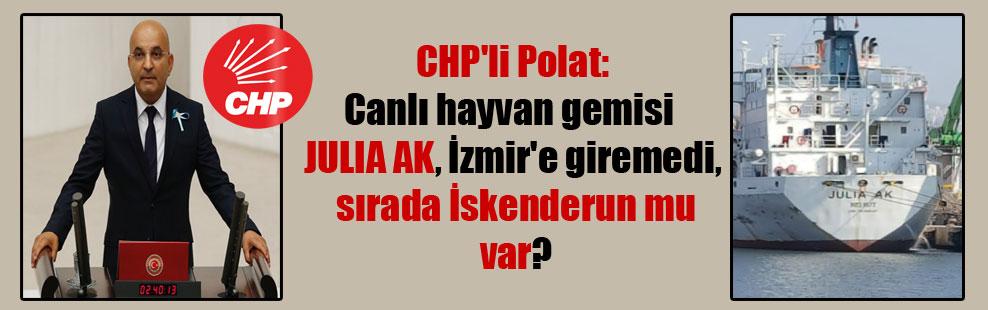 CHP'li Polat: Canlı hayvan gemisi  JULIA AK, İzmir'e giremedi, sırada İskenderun mu var?