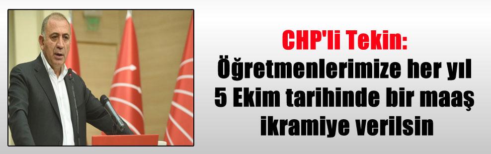 CHP'li Tekin: Öğretmenlerimize her yıl 5 Ekim tarihinde bir maaş ikramiye verilsin