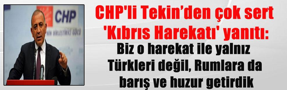 CHP'li Tekin'den çok sert 'Kıbrıs Harekatı' yanıtı: Biz o harekat ile yalnız Türkleri değil, Rumlara da barış ve huzur getirdik