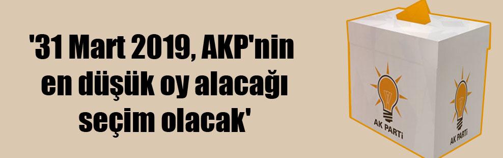 '31 Mart 2019, AKP'nin en düşük oy alacağı seçim olacak'