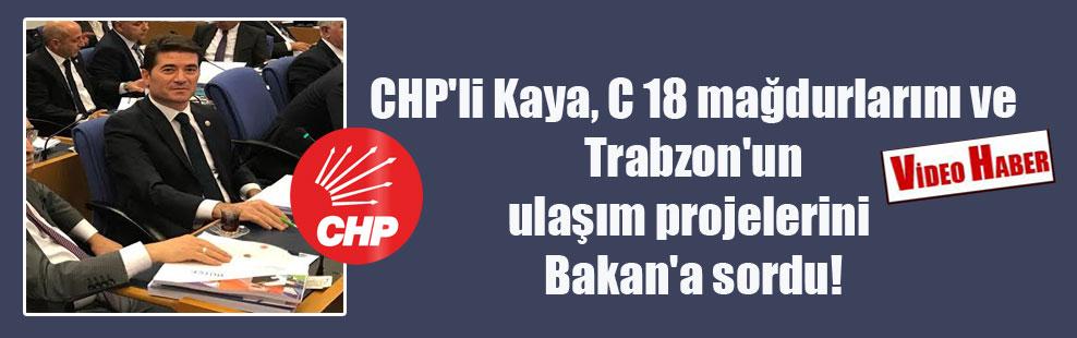 CHP'li Kaya, C 18 mağdurlarını ve Trabzon'un ulaşım projelerini Bakan'a sordu!