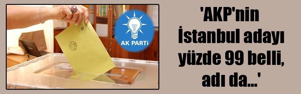 'AKP'nin İstanbul adayı yüzde 99 belli, adı da…'