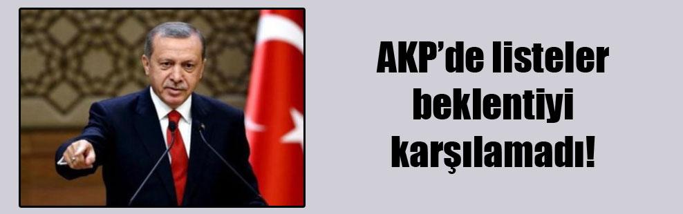 AKP'de listeler beklentiyi karşılamadı!