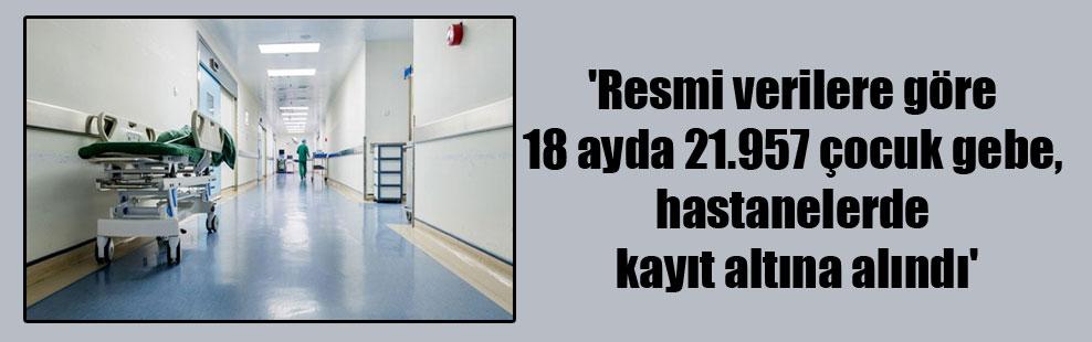 'Resmi verilere göre 18 ayda 21.957 çocuk gebe, hastanelerde kayıt altına alındı'