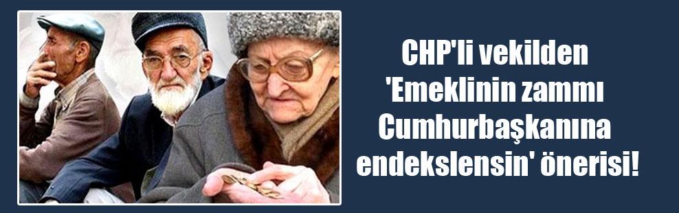 CHP'li vekilden 'Emeklinin zammı Cumhurbaşkanına endekslensin' önerisi!